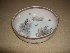 Large Vintage Oriental Ceramic Bowl with Butterflies and Flowers
