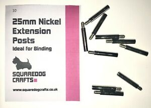 25mm NICKEL EXTENSION POSTS 10 PK - FOR EXTENDING  BINDING POSTS AND SCREWS