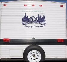 Mountain Landscape Happy Campers Camper RV Vinyl Decal Sticker Graphics 23x38