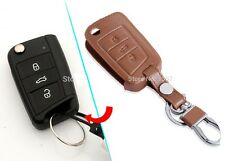 272-LEATHER BROWN Key Chain Cover SKODA OCTAVIA A7 2015 SUPERB RAPID 2016 REMOTE
