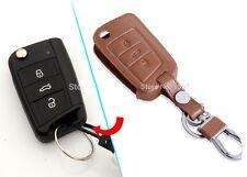 272- LEATHER BROWN TAN Key Chain Cover VW VOLKSWAGEN POLO VENTO JETTA Remote MK7