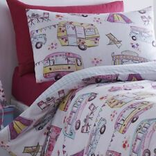 GLAMPING SINGLE DUVET COVER AND PILLOWCASE SET TENTS CARAVAN PINK PURPLE BEDDING
