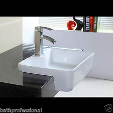 Basin Sink Bathroom Bowl Countertop Corner Square Semi recessed Ceramic White KL