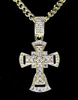 """Mens Icy 1.5"""" Cz Cross Pendant 14k Gold Plated 24"""" Link Chain Hip Hop Necklace"""