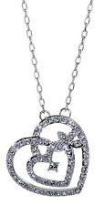 Swarovski Elements Crystal Circle Heart In Heart Pendant Necklace Rhodium 7103z