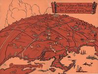 Pictorial Map of Boston New England Motor Trails Wall Art Poster Print Office