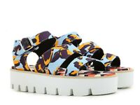 MSGM women's wedges sandals shoes in multicolor fabric buckles Size US 4.5-EU 35