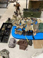 """Huge GI Joe 12"""" Lot Modern Uniforms Guns Parachute Belts Boots Accessories"""
