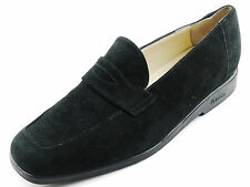 LKNW BALLY Black Women's Suede Slip-On Penny Loafers Shoes Flats 7 N