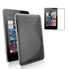 Google Nexus 7 Kit- Premium S Frost Black TPU Gel Skin Case+FREE HD Screen Cover