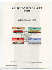 ALLEMAGNE FEDERALE, RFA, 1975, TRAINS, 4 timbres, 685/688, DOCUMENT 1° JOUR