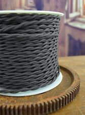 Charcoal Gray - Cloth Covered Twisted Wire 25ft Roll - Lamp Cord - Pendant Cord