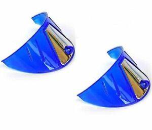 """7"""" Headlight Headlamp Light Bulb Visors Trim Ring Cover Blue W/ Stainless Insert"""