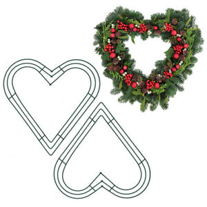 Christmas Metal Wreath Heart Love Frame DIY Wedding Party Garland Floral Decor