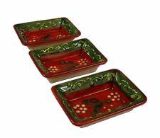 Set of 3  Mini Tapas / Dipping Trays 8 X 6 cm Spanish Handmade Ceramic Pottery