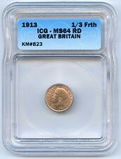 High Grade 1913 Great Britain 1/3 Farthing ICG Graded MS 64 RD. Lot #2507