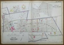 ORIGINAL 1905 32x22 City of Trenton NJ Atlas Colored Map Prospect Heights
