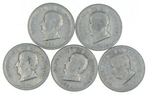 Lot of 5 El Salvador 1953 25 Centavos Silver Coin Lot - Rare one Year Issue *299