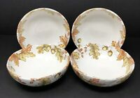 Pier 1 Imports Lot of 4 Mazey White w/ Fall Autumn Leaves Soup Cereal Bowls