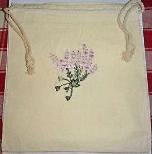 """4 Ivory 8x9"""" Muslin with Lavender flowers embroidery front Drawstring Favor Bags"""
