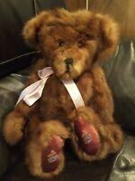 """OOAK Handmade Brown Mohair Teddy Bear by Susan Allen, #1846, 17"""" Jointed"""