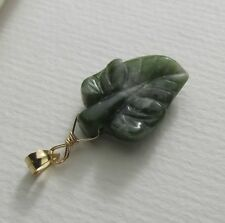 geschnitztes Jade Blatt Ketten-Anhänger 585 14K Gold GF/ygf grüne Nephrit Jade