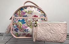 Betsey Johnson TRAIN CASE Floral White Pink Travel Purse Handbag Bag & Wallet