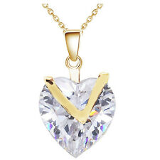 Luxury Yellow Gold White Cubic Zircon Romantic Love Heart Pendant Necklace N358