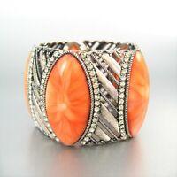 Metal Rhinestone Glass Stone Beads Stretch Fashion Bracelet Statement