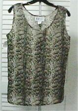 Tan/Black Animal Print Sleeveless Tank Blouse Size 6 by Darue #305-445…NEW