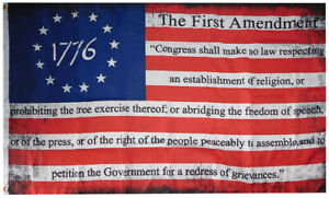 1776 Bill Of Rights First Amendment Betsy Ross Distressed 100D 3x5 Flag Banner
