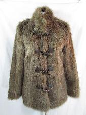 Pamela McCoy Faux Fur Coat M Brown Faux Fur Coat Toggle Coat Vegan Jacket
