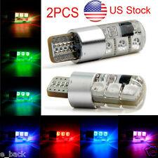 2x RGB T10 194 168 W5W Car Reading 7 LED Wedge Bulb W/ Remote Controller Strobe