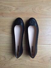 New Bottega Veneta Black Leather Flat Shoes Butterfly Disc IT Size 37/UK Size 4