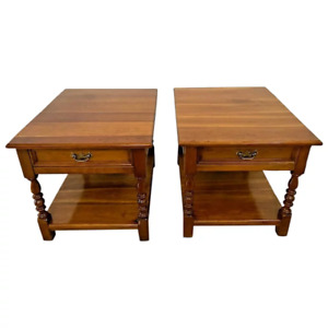 Authentic Stickley Side Tables Nightstands Solid Cherry Top Drawer bottom shelf