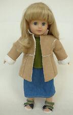 """Jessica"" Gotz Girls Doll 18"" Blonde Hair Blue Eyes Coat Skirt Sandal Clothes"