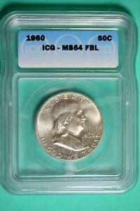 1960 ICG MS64 FBL Franklin Half Dollar #B25948