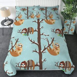 Christmas Snow Sloth Animal King Queen Twin Quilt Duvet Pillow Cover Bed Set