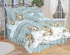 WOLVES North Country Wildlife WOLF Pack CABIN LODGE BLUE King Size COMFORTER SET