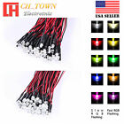 20pcs 3 5mm DC 9-12V Pre-Wired Flat Top Warm White Red Blue Orange LED Diodes