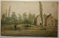 ANTIQUE ENGLISH WATERCOLOUR BY GEORGE CUMBERLAND 1820 TROUT FISHING CIRENCESTER