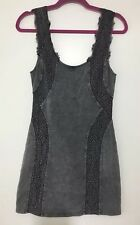 Intimately Free People Body Con Gray Dress Small Lace Panel Mid Thigh Acid Wash
