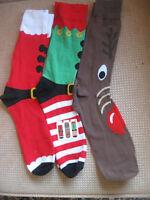 Pack of 3 Men's Novelty Christmas socks, size 6-11