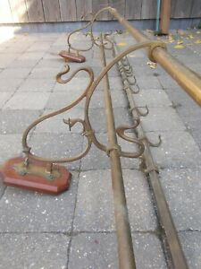Large French Art Nouveau Brass Hat and Coat Rack