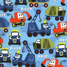 Michael Miller Little Movers Build More Construction Trucks Nite Fabric BHY
