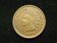 SUMMER SALE!! XF 1907 INDIAN HEAD CENT PENNY w/ DIAMONDS & FULL LIBERTY #104c