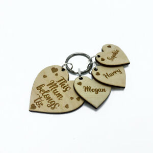Personalised Wooden Heart Keyring This Mum belongs to Engraved Mummy Gift Idea