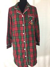 Disney Parks Flannel Pajamas Size S / M Plaid Christmas Night gown Red Green