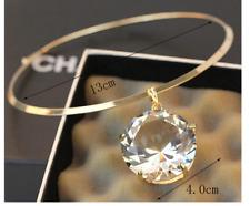 Bib Pendant Choker Silver Huge Large Big Clear Gem Crystal Rhinestone Necklace
