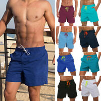 Men Swimming Board Shorts Plain Swim Shorts Trunks Bottom Swimwear Beach Pants
